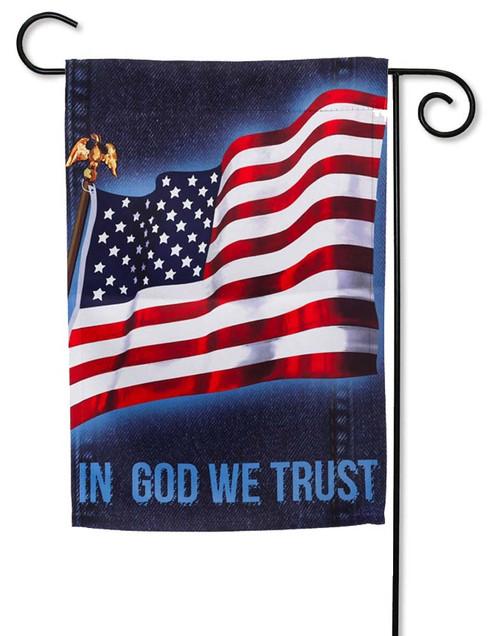 "Flag with Denim Decorative Garden Flag - 12.5"" x 18"" - 2 Sided Message"