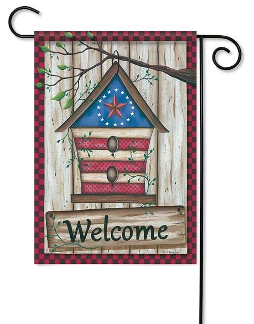 """Barn Star Birdhouse Garden Flag - 12.5"""" x 18"""" - Flag Trends - 2 Sided Message"""