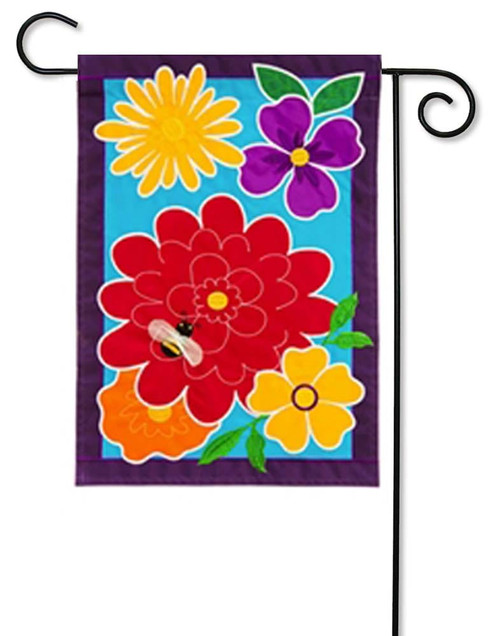 Springy Flowers Applique Garden Flag