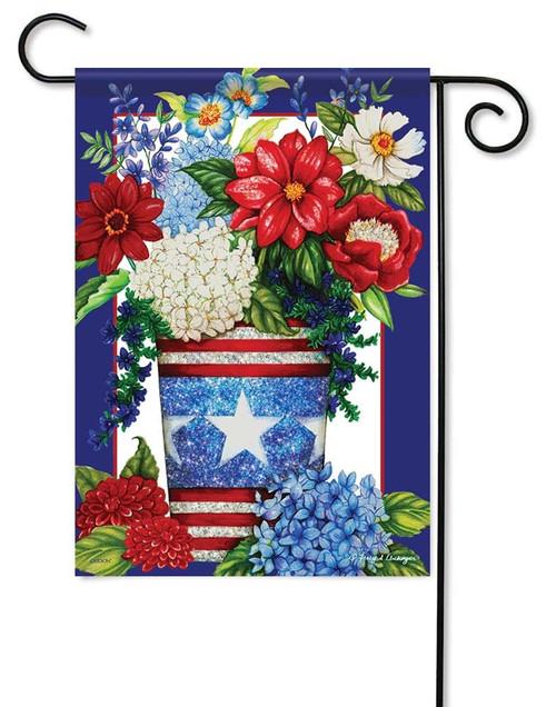 Patriotic Flowers Glitter Garden Flag