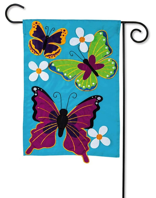 Summer Butterflies Applique Garden Flag