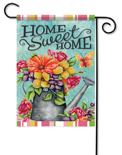 "Bountiful Blooms Glitter Garden Flag - 12.5"" x 18"" - Flag Trends - 2 Sided Message"