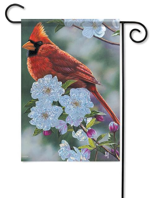 "Springtime Cardinal Glitter Garden Flag - 12.5"" x 18"""