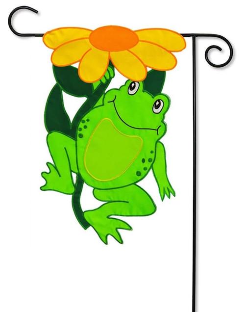 Happy Frog Applique Garden Flag