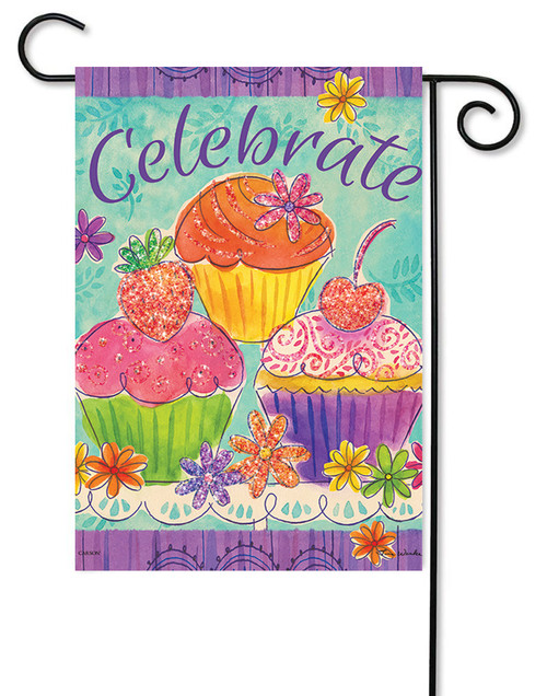 "Cupcakes Glitter Garden Flag - 12.5"" x 18"" - Flag Trends - 2 Sided Message"