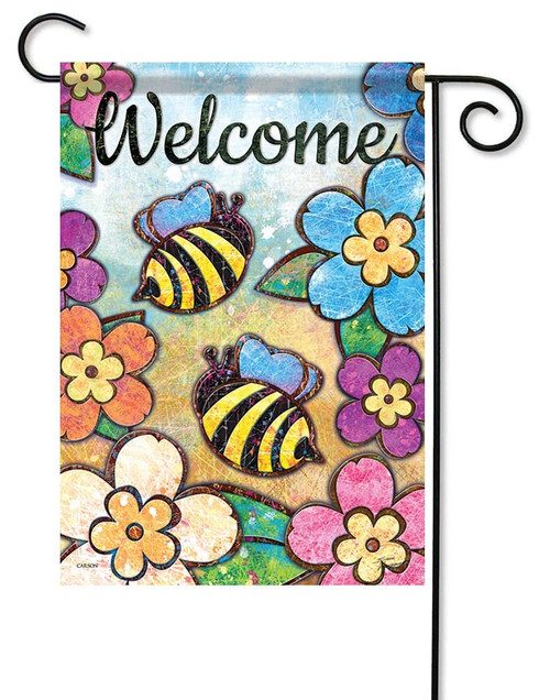 "Bumble Blossoms Garden Flag - 12.5"" x 18"" - Flag Trends - 2 Sided Message"
