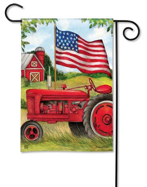 """Patriotic Tractor Garden Flag - 12.5"""" x 18"""" - BreezeArt"""