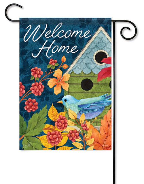 "Birdhouse & Berries Garden Flag - 12.5"" x 18"" - Flag Trends - 2 Sided Message"
