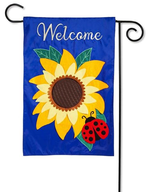 Sunflower Welcome Applique Garden Flag