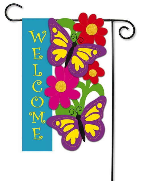 "Butterfly Welcome Applique Garden Flag - 12.5"" x 18"" - 2 Sided Message - Evergreen"