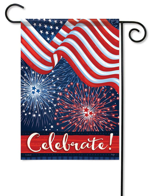 "Flag & Fireworks Garden Flag - 12.5"" x 18"" - Flag Trends - 2 Sided Message"