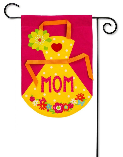"Mom's Apron Burlap Garden Flag - 12.5"" x 18"" - 2 Sided Message - Evergreen"