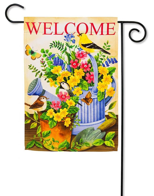 "Blue Watering Can & Birds Garden Flag - 12.5"" x 18"" - 2 Sided Message - Evergreen"