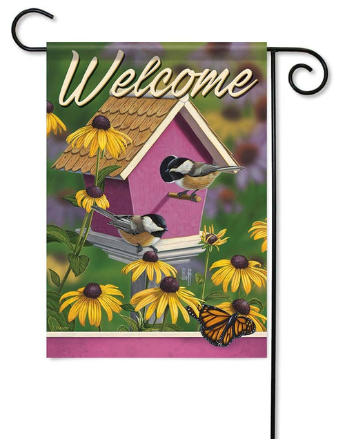 "Chickadee House Garden Flag - 12.5"" x 18"" - Flag Trends - 2 Sided Message"