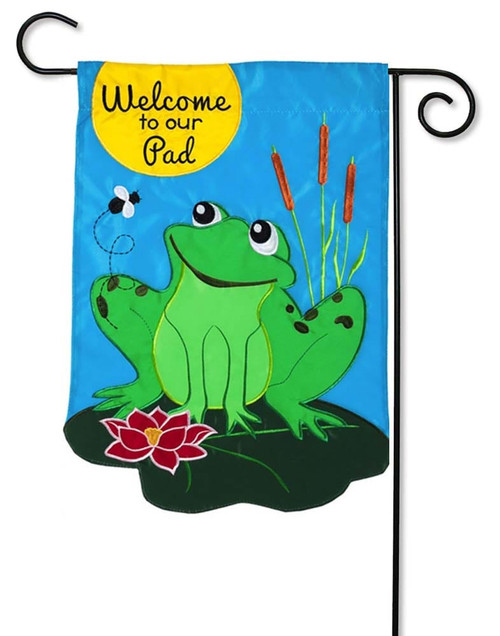 "Welcome to our Pad Applique Garden Flag - 12.5"" x 18"" - 2 Sided Message - Evergreen"