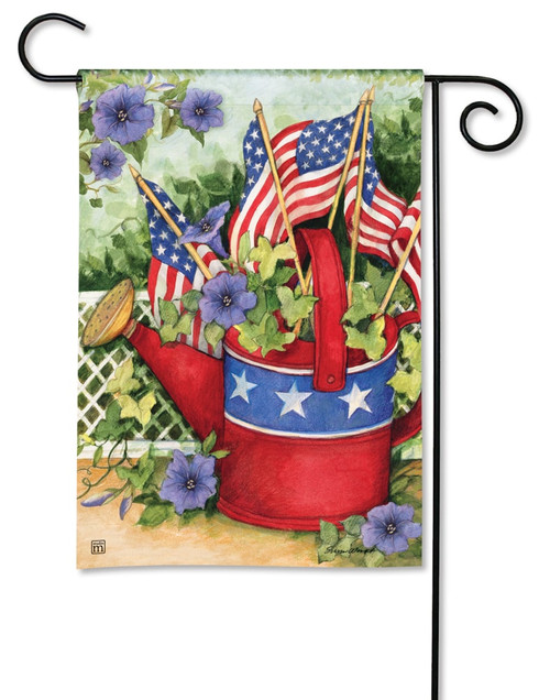 "Patriotic Watering Can Patriotic Garden Flag - 12.5"" x 18"" - BreezeArt"