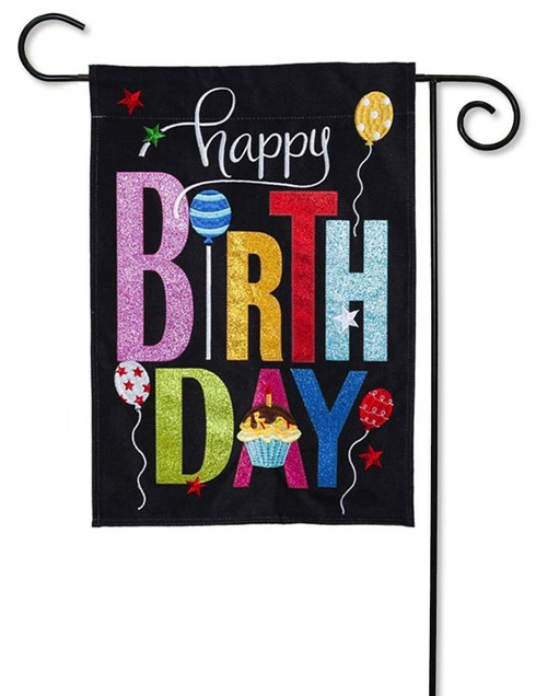 "Happy Birthday Cupcake Burlap Garden Flag - 12.5"" x 18"" - 2 Sided Message - Evergreen"
