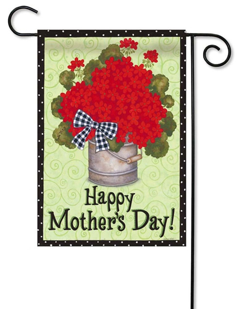 "Happy Mother's Day Geraniums Garden Flag - 12.5"" x 18"" - 2 Sided Message - Evergreen"