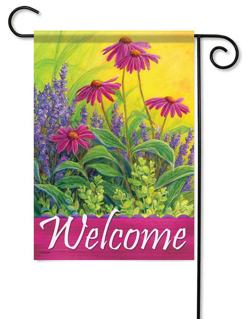 "Lavendar & Echinacea Garden Flag - 12.5"" x 18"" - Flag Trends - 2 Sided Message"