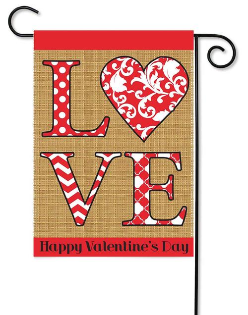 LOVE Valentines Burlap Garden Flag by Magnolia Gardens