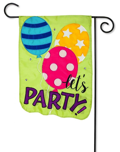 "Let's Party Balloons Applique Garden Flag - 12.5"" x 18"" - 2 Sided Message - Evergreen"