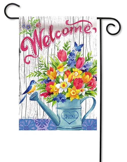 "Spring Watering Can Decorative Garden Flag - 12.5"" x 18"" - 2 Sided Message - Evergreen"