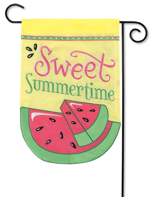 "Sweet Summertime Applique Garden Flag - 12.5"" x 18"" - Flag Trends - 2 Sided Message"