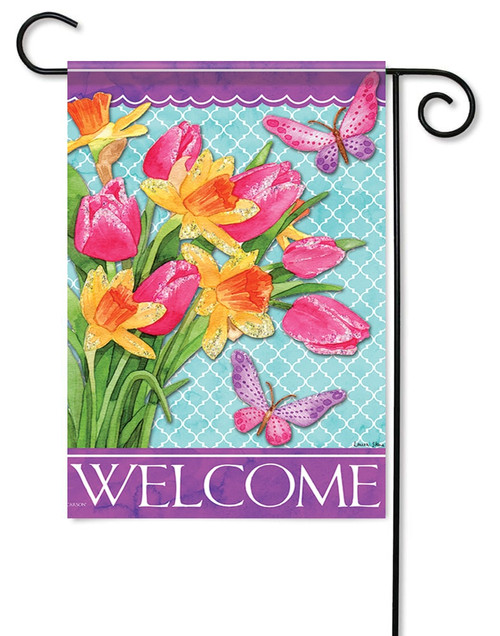 "Pink Tulips Glitter Garden Flag - 12.5"" x 18"" - Flag Trends - 2 Sided Message"