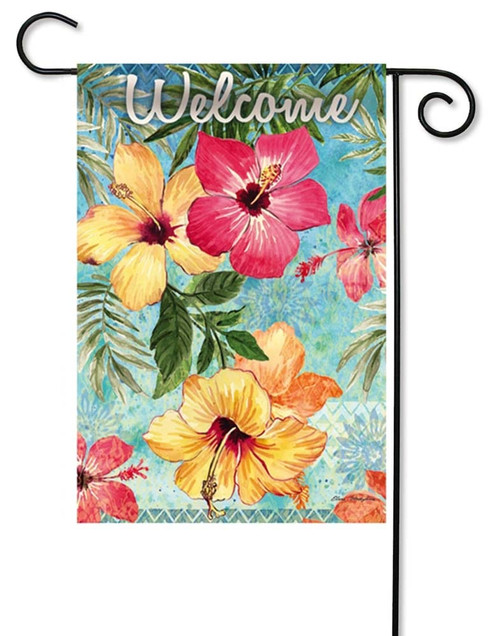 "Watercolor Hibiscus Decorative Garden Flag - 12.5"" x 18"" - 2 Sided Message - Evergreen"