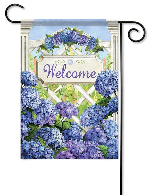 "Garden Gate Hydrangea Garden Flag - 12.5"" x 18"" - Flag Trends - 2 Sided Message"
