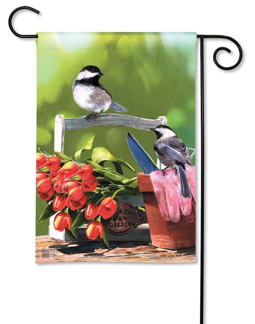 """Chickadee Rest Stop Summer Garden Flag - 12.5"""" x 18"""" - BreezeArt"""