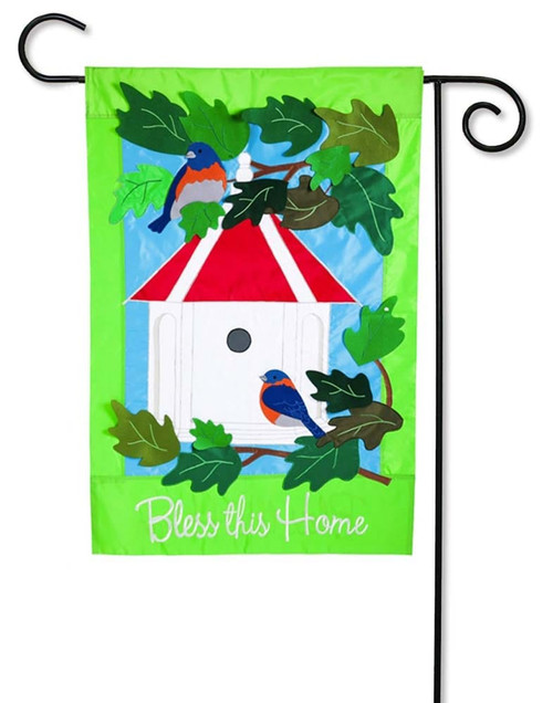 "Bless This Home Applique Garden Flag - 12.5"" x 18"" - 2 Sided Message - Evergreen"