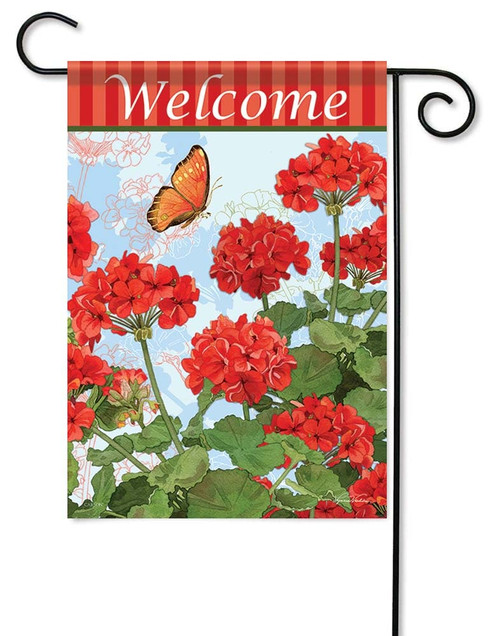"Red Geraniums Garden Flag - 12.5"" x 18"" - Flag Trends - 2 Sided Message"
