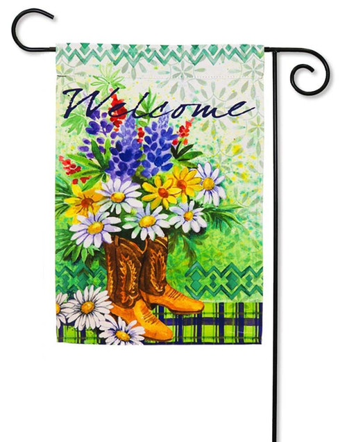"Summer Floral in Boots Decorative Garden Flag - 12.5"" x 18"" - 2 Sided Message - Evergreen"