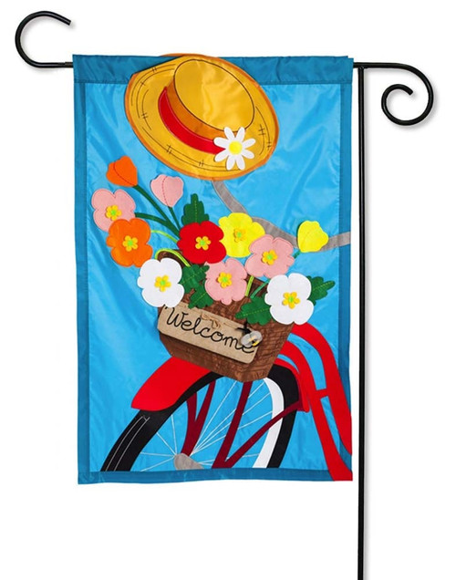 "Bicycle Basket Applique Garden Flag - 12.5"" x 18"" - 2 Sided Message - Evergreen"
