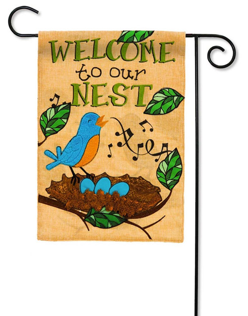 "Songbird on Nest Burlap Garden Flag - 12.5"" x 18"" - 2 Sided Message - Evergreen"