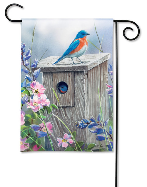 "Bluebird Lookout Summer Garden Flag - 12.5"" x 18"" - BreezeArt"