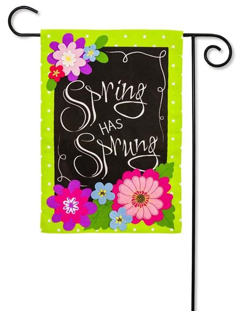 "Spring Has Sprung Burlap Garden Flag - 12.5"" x 18"" - 2 Sided Message - Evergreen"