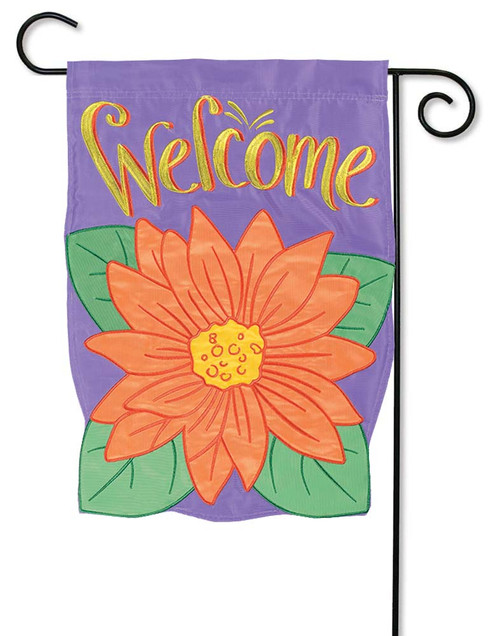 "Gerbera Bloom Applique Garden Flag - 12.5"" x 18"" - Flag Trends - 2 Sided Message"