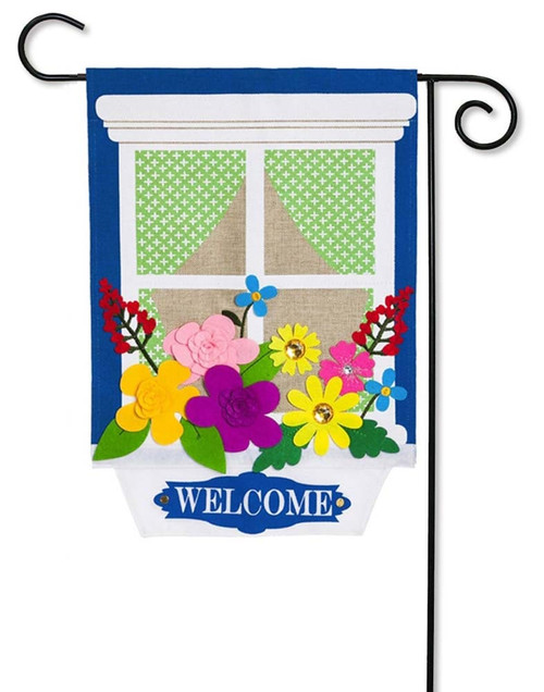 "Window Box Garden Burlap Garden Flag - 12.5"" x 18"" - 2 Sided Message - Evergreen"