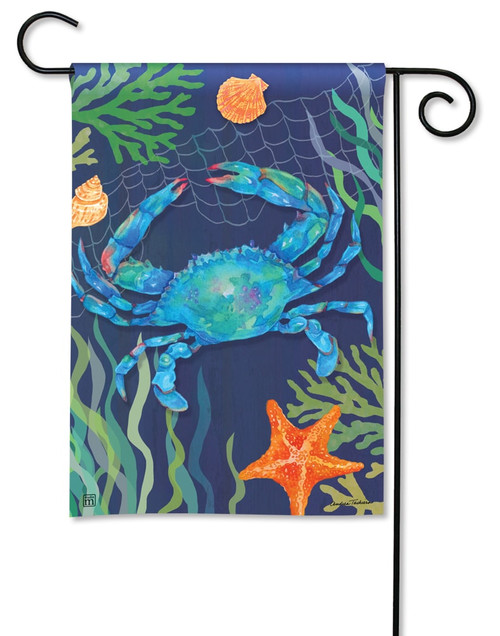 "Blue Crab Summer Garden Flag - 12.5"" x 18"" - BreezeArt"