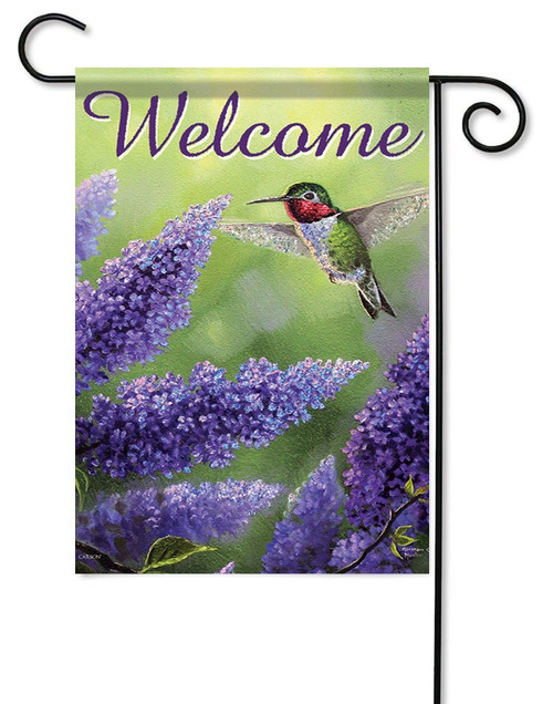 "Vibrant Visitor Glitter Garden Flag - 12.5"" x 18"" - Flag Trends - 2 Sided Message"