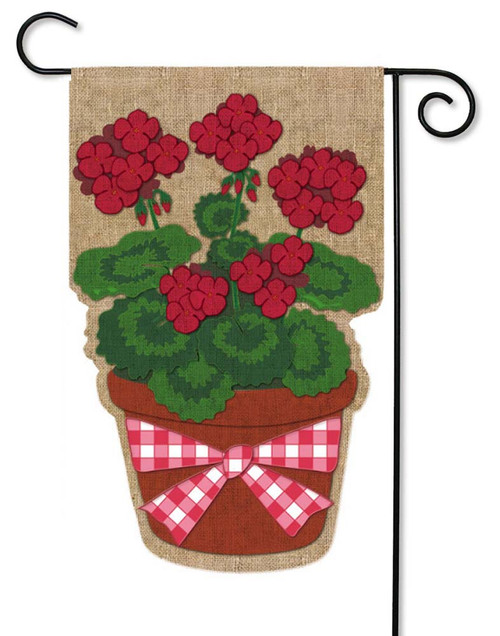 "Summer Geranium Burlap Garden Flag - 12.5"" x 18"" - Evergreen"
