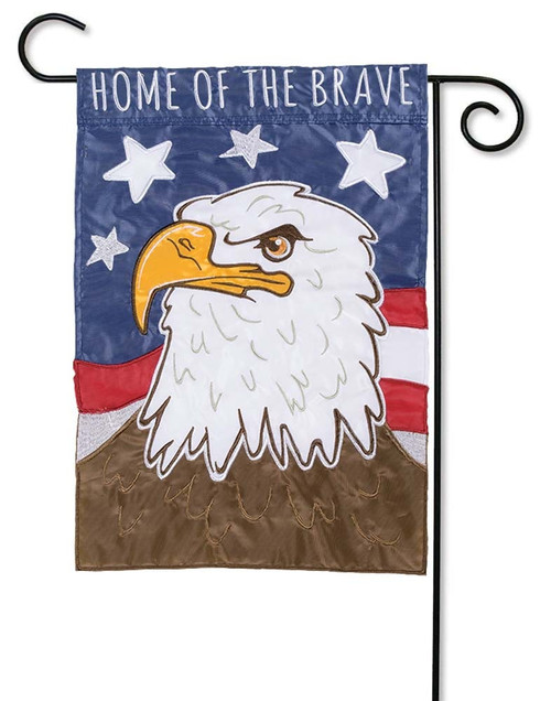 "Home of the Brave Applique Garden Flag - 12.5"" x 18"" - Flag Trends - 2 Sided Message"