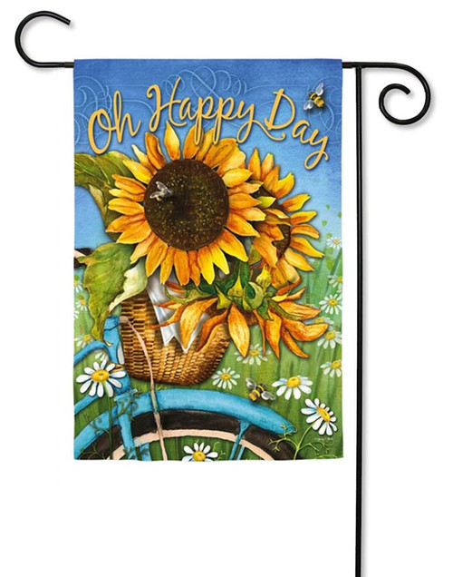 "Happy Day Sunflowers Decorative Garden Flag - 12.5"" x 18"" - 2 Sided Message - Evergreen"