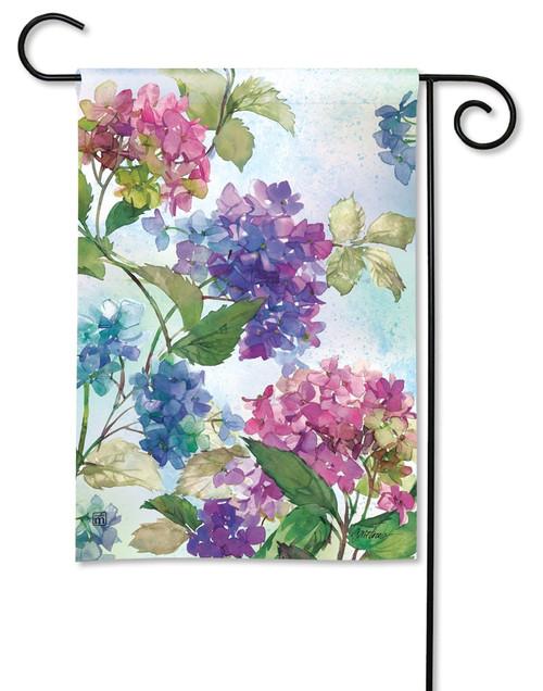 """Hydrangeas Summer Garden Flag - 12.5"""" x 18"""" - BreezeArt"""