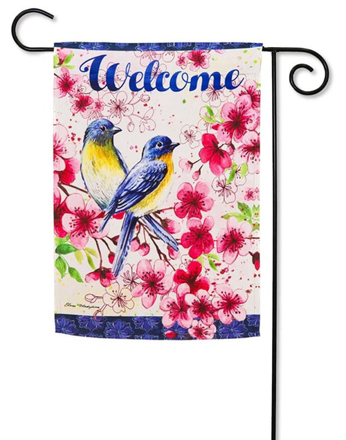 "Bluebirds and Cherry Blossom Garden Flag - 12.5"" x 18"" - 2 Sided Message - Evergreen"