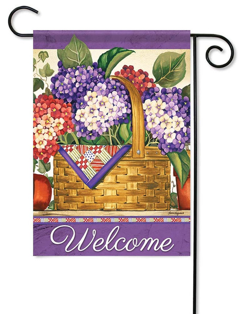 "Hydrangea Basket Garden Flag - 12.5"" x 18"" - Flag Trends - 2 Sided Message"