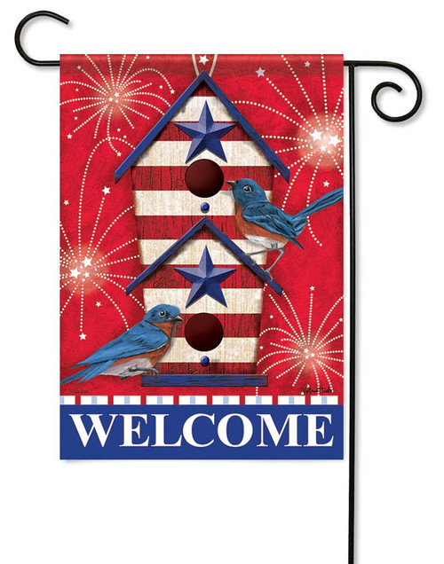 "Bluebird Fireworks Garden Flag - 12.5"" x 18"" - Flag Trends - 2 Sided Message"