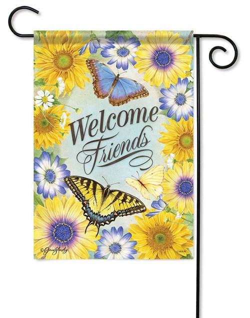 "Fluttering Friends Garden Flag - 12.5"" x 18"" - Flag Trends - 2 Sided Message"